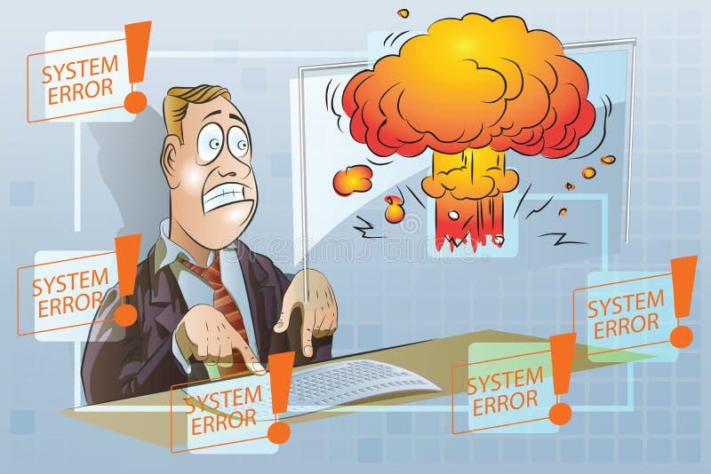 απόθεμα απεικόνισης κατασκευής κάτω από το διάνυσμα Αστείος επιχειρηματίας που εργάζεται σε έναν υπολογιστή Συστήματα ασφαλείας δ διανυσματική απεικόνιση