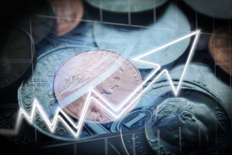 Απόθεμα πενών που επενδύει τα κέρδη στοκ φωτογραφία