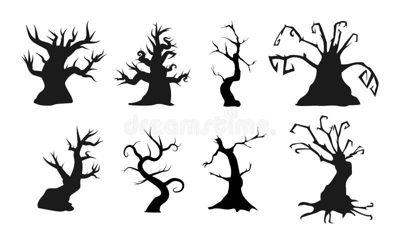 Απόκοσμα παλαιά δέντρα με τις ανατριχιαστικές μορφές επίσης corel σύρετε το διάνυσμα απεικόνισης Τελειοποιήστε για τις τρομακτικέ διανυσματική απεικόνιση