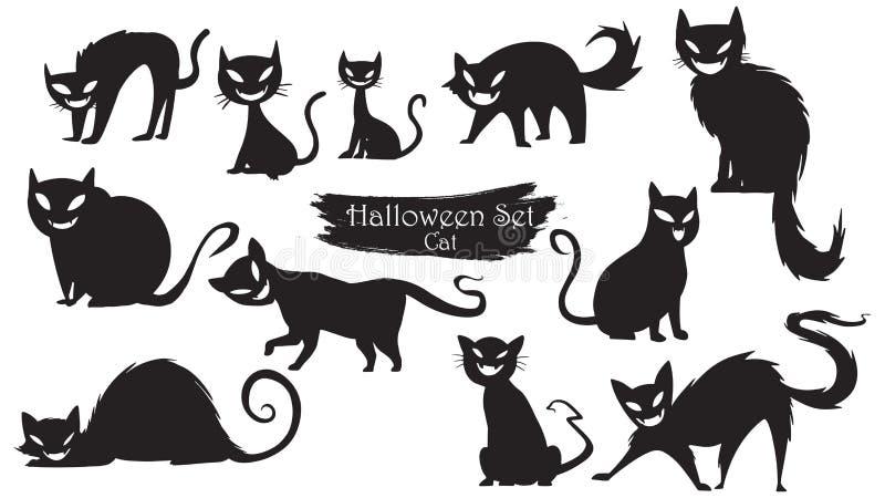 Απόκοσμη συλλογή σκιαγραφιών γατών αποκριών απομονωμένο διάνυσμα ο απεικόνιση αποθεμάτων