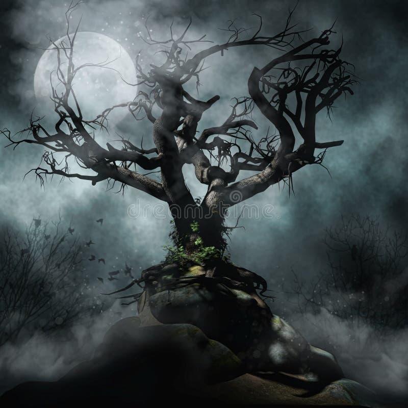 Απόκοσμο δέντρο και φεγγάρι διανυσματική απεικόνιση