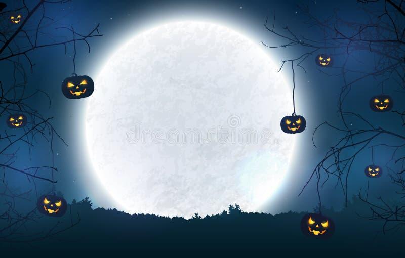 Απόκοσμο υπόβαθρο νύχτας για το έμβλημα αποκριών απεικόνιση αποθεμάτων