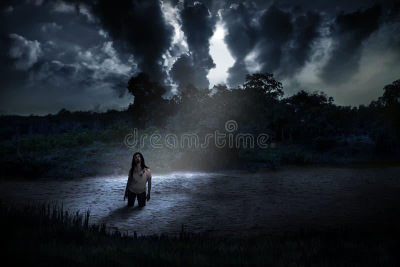 Απόκοσμο zombie που στέκεται στην ανατριχιαστική λίμνη στοκ εικόνες με δικαίωμα ελεύθερης χρήσης