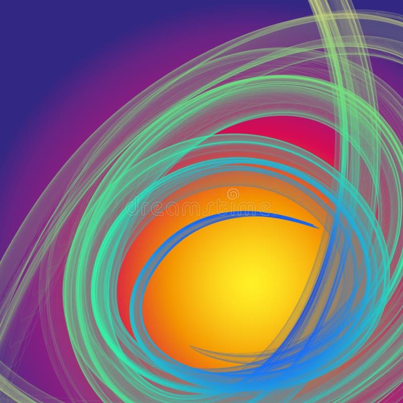 Απόκρυφη πράσινη και μπλε σπείρα ινών καπνού στο ιώδες και κίτρινο υπόβαθρο διανυσματική απεικόνιση