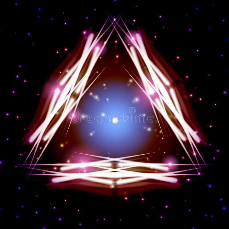 Απόκρυφο λαμπρό τρίγωνο με τα σπινθηρίσματα διανυσματική απεικόνιση