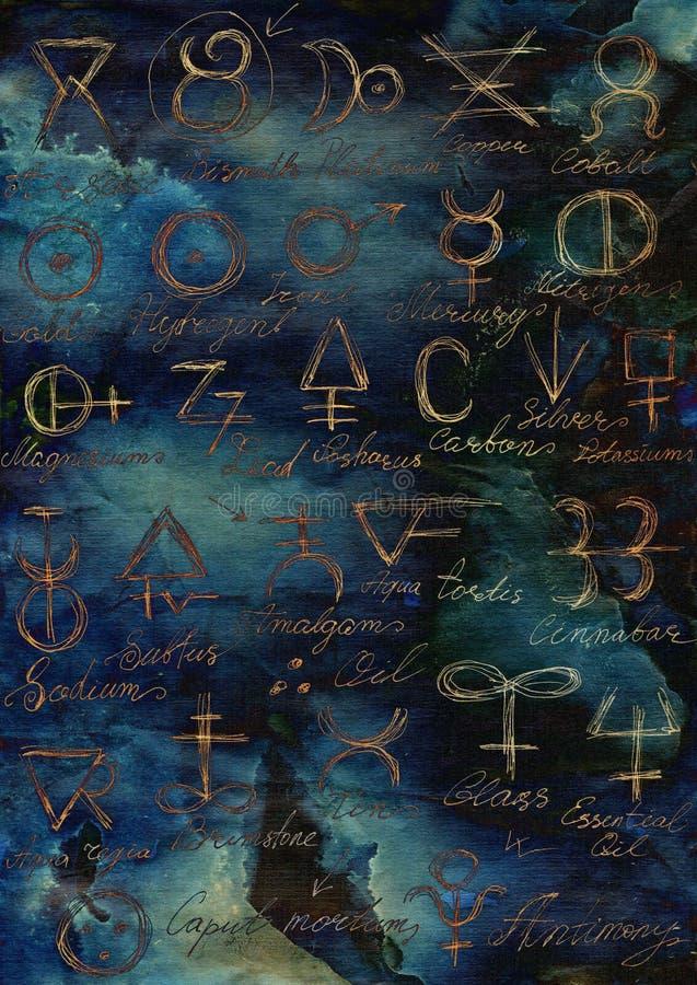 Απόκρυφο υπόβαθρο με τα λάμποντας αλχημικά σημάδια και τα σύμβολα ελεύθερη απεικόνιση δικαιώματος