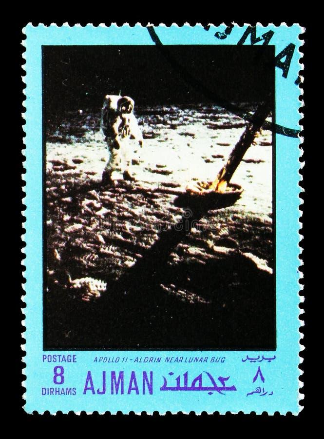 Απόλλωνας 11 - Aldrin κοντά στο σεληνιακό πρόγραμμα ζωύφιου, απόλλωνα και Διδυμων serie, circa 1970 στοκ φωτογραφία με δικαίωμα ελεύθερης χρήσης