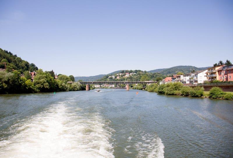 Απόμακρη άποψη κατά μήκος του ποταμού neckar με μια περιοχή και ένα δάσος δέντρων στοκ φωτογραφίες με δικαίωμα ελεύθερης χρήσης