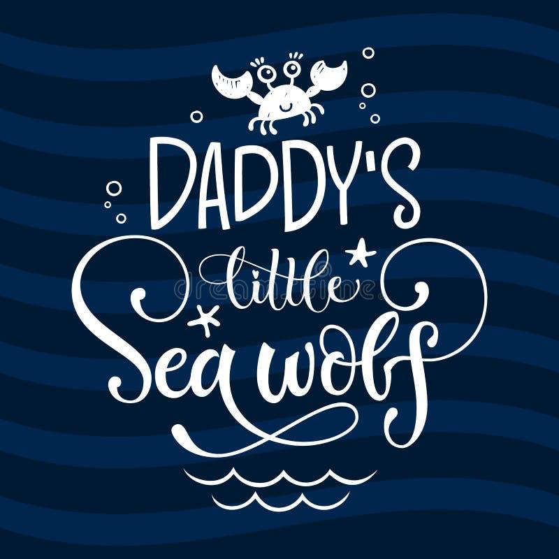 Απόσπασμα λύκων θάλασσας μπαμπά λίγο Απλό άσπρο χρώματος μωρών ύφος χειρογράφων ντους συρμένο χέρι τραγελαφικό που γράφει τη διαν στοκ εικόνα