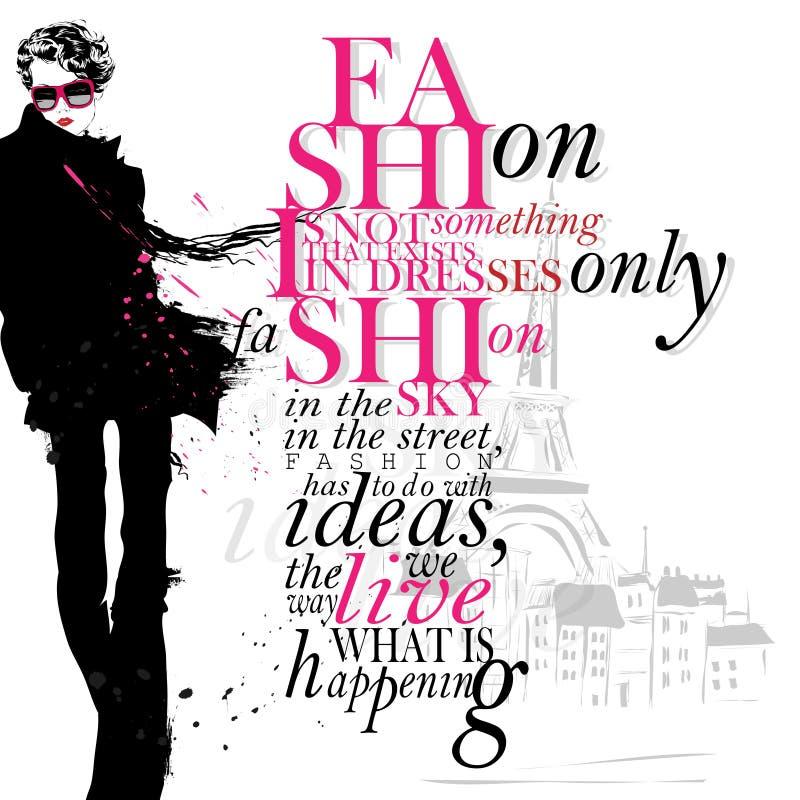 Απόσπασμα μόδας με το σύγχρονο κορίτσι διανυσματική απεικόνιση