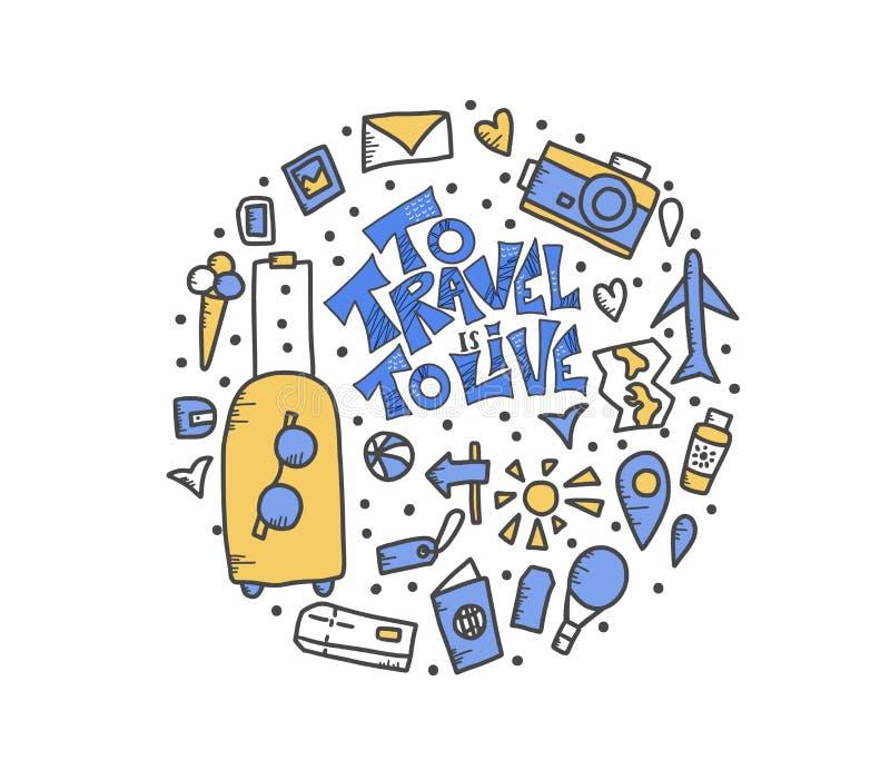 Απόσπασμα ταξιδιού με τα σύμβολα doodle στο διάνυσμα διανυσματική απεικόνιση