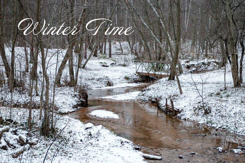 Απόσπασμα τυπογραφίας στο χειμερινό δασικό υπόβαθρο στοκ εικόνα με δικαίωμα ελεύθερης χρήσης