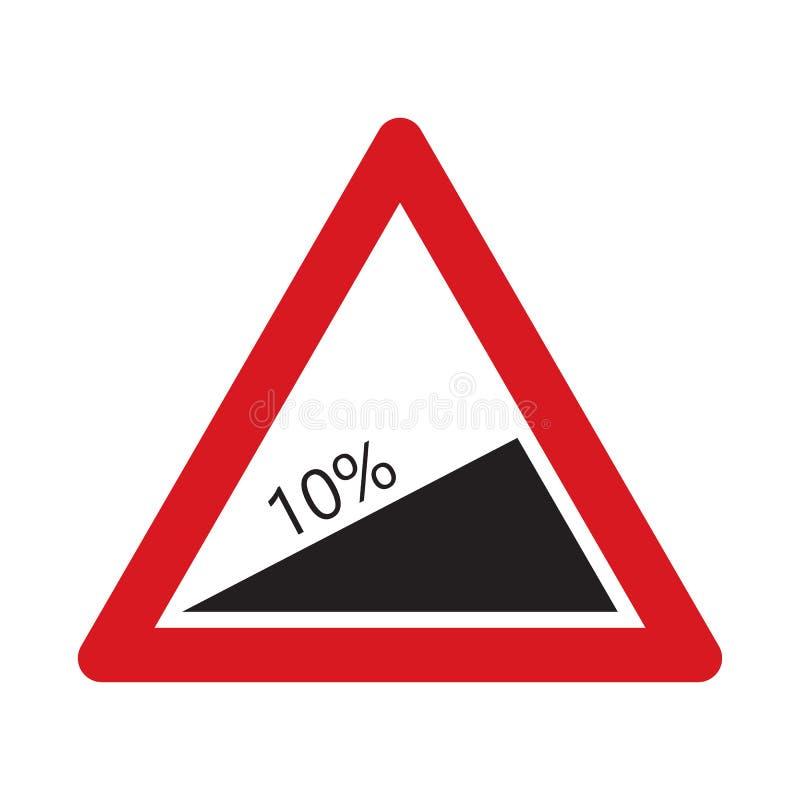 Απότομη κάθοδος σημαδιών κυκλοφορίας διανυσματική απεικόνιση