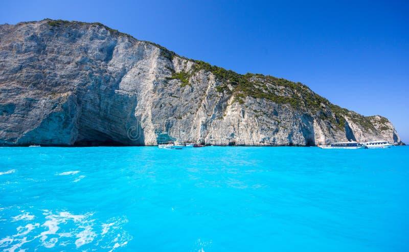 Απότομοι βράχοι της Ζάκυνθου και Μεσόγειος, Ελλάδα στοκ εικόνες