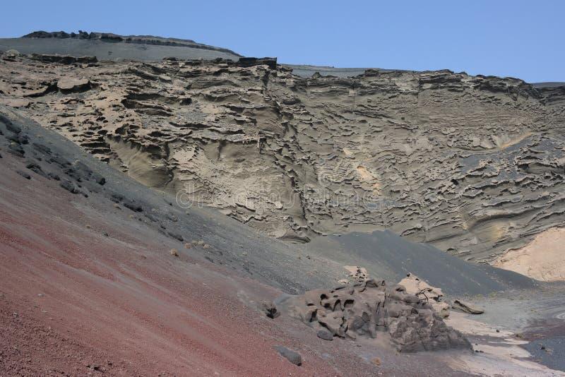Απότομοι βράχοι golfo EL, νησιά Lanzarote, canaria στοκ φωτογραφία
