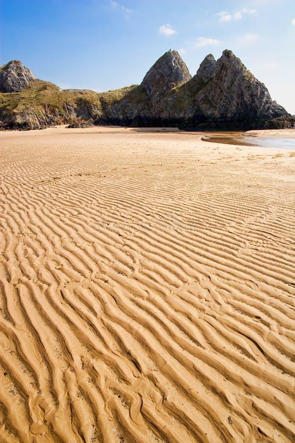 απότομοι βράχοι gower τρία UK Ουαλία κόλπων στοκ φωτογραφίες με δικαίωμα ελεύθερης χρήσης