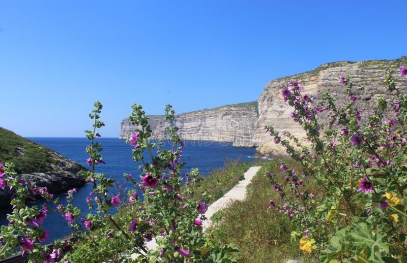 Απότομοι βράχοι Xlendi, Gozo, Δημοκρατία της Μάλτας στοκ εικόνες