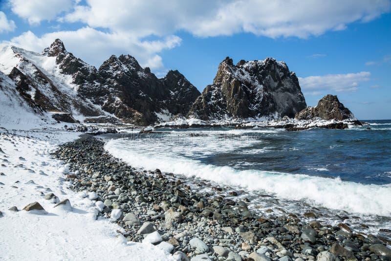 Απότομοι, δύσκολοι σωροί θάλασσας στην ακτή της Ιαπωνίας το χειμώνα στοκ εικόνα
