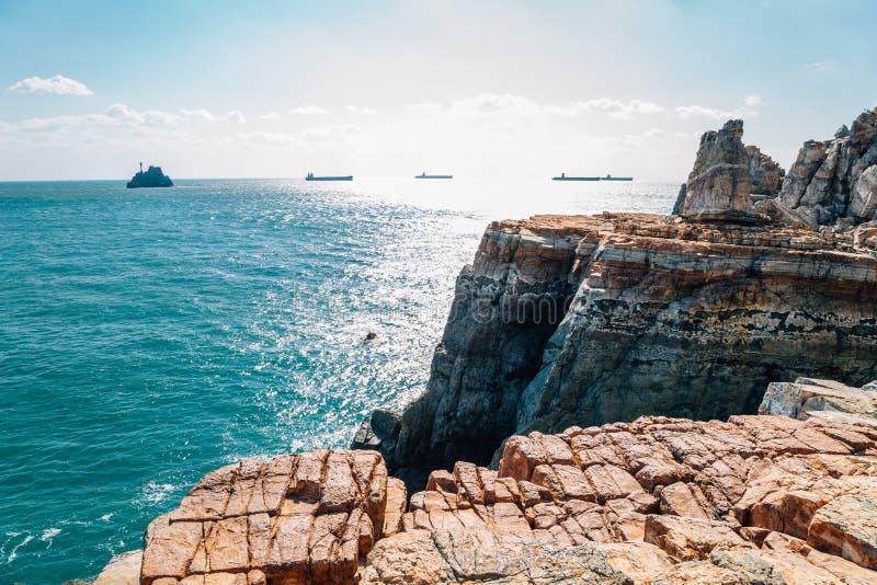 Απότομος βράχος Taejongdae, θάλασσα σε Busan, Κορέα στοκ φωτογραφίες με δικαίωμα ελεύθερης χρήσης