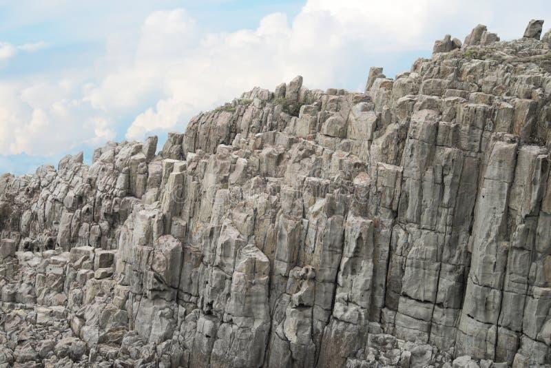 Απότομος βράχος Tojinbo, βράχοι Byobu στοκ εικόνες