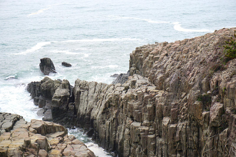 Απότομος βράχος Tojinbo, βράχοι Byobu στοκ φωτογραφία με δικαίωμα ελεύθερης χρήσης
