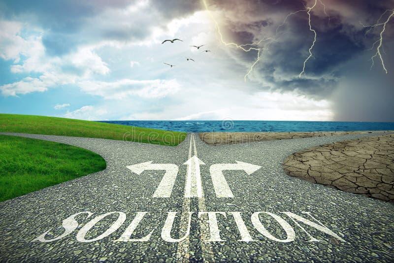 Απόφαση περιβάλλοντος κλιματικής αλλαγής Σταυροδρόμια και ιδέα επιχειρησιακής λύσης στοκ εικόνες