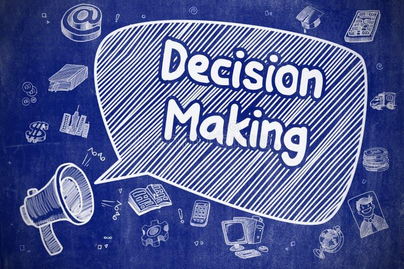Απόφαση - που κάνει - απεικόνιση κινούμενων σχεδίων σχετικά με τον μπλε πίνακα κιμωλίας ελεύθερη απεικόνιση δικαιώματος