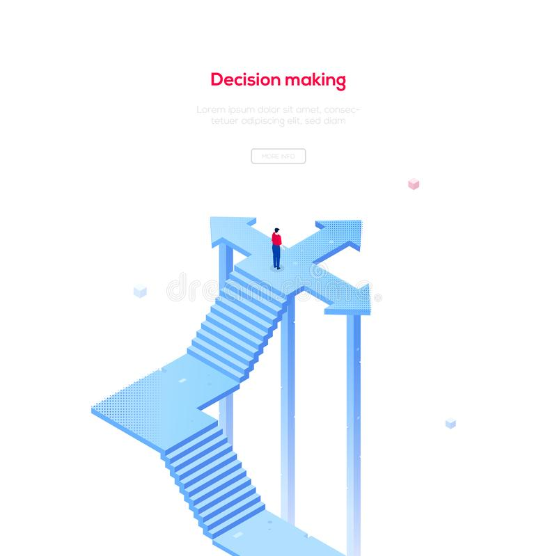 Απόφαση - που κάνει - σύγχρονο isometric διανυσματικό έμβλημα Ιστού διανυσματική απεικόνιση