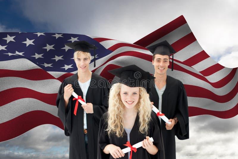 Απόφοιτοι φοιτητές ενάντια στη αμερικανική σημαία απεικόνιση αποθεμάτων