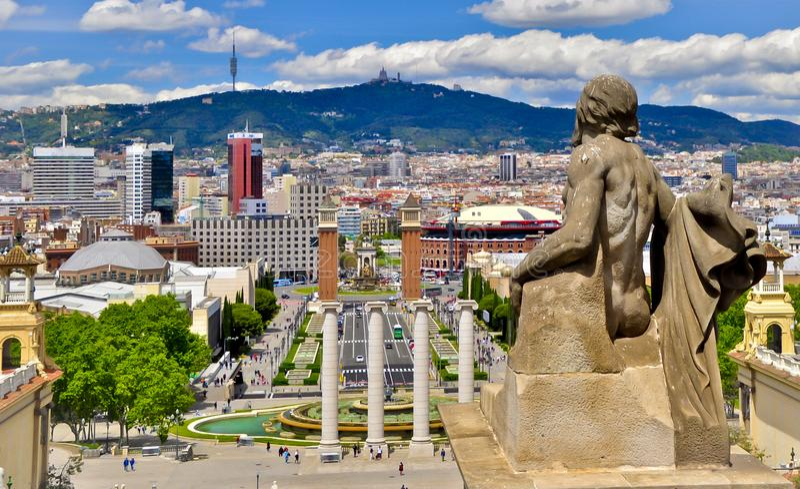Απόψεις της Βαρκελώνης από το εθνικό παλάτι στοκ φωτογραφία