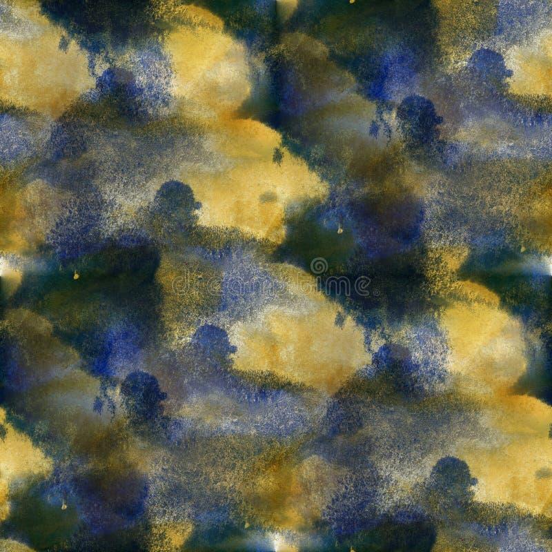 Από άνευ ραφής σύσταση watercolor έντονου φωτός χρωμάτων την πορφυρή κίτρινη με την τέχνη σημείων και ραβδώσεων ελεύθερη απεικόνιση δικαιώματος