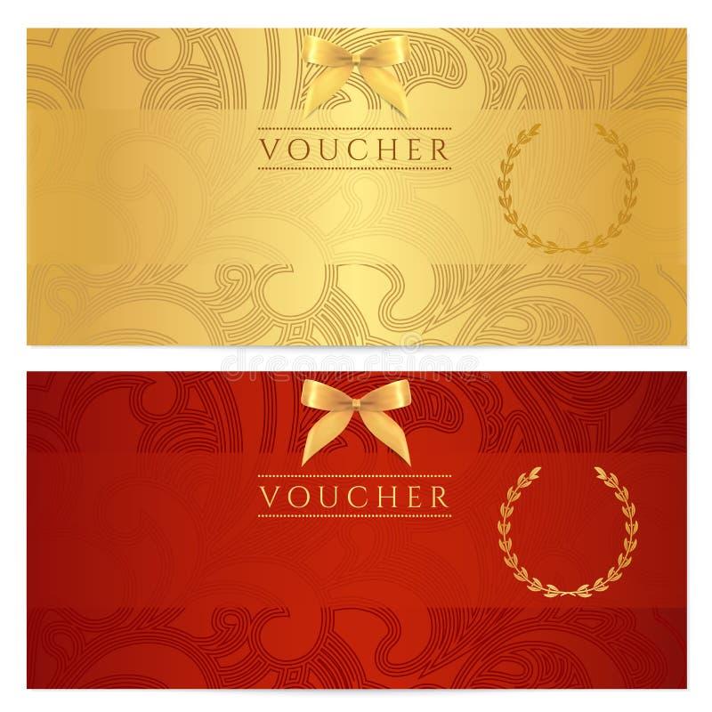 Απόδειξη, πιστοποιητικό δώρων, δελτίο, εισιτήριο. Σχέδιο διανυσματική απεικόνιση