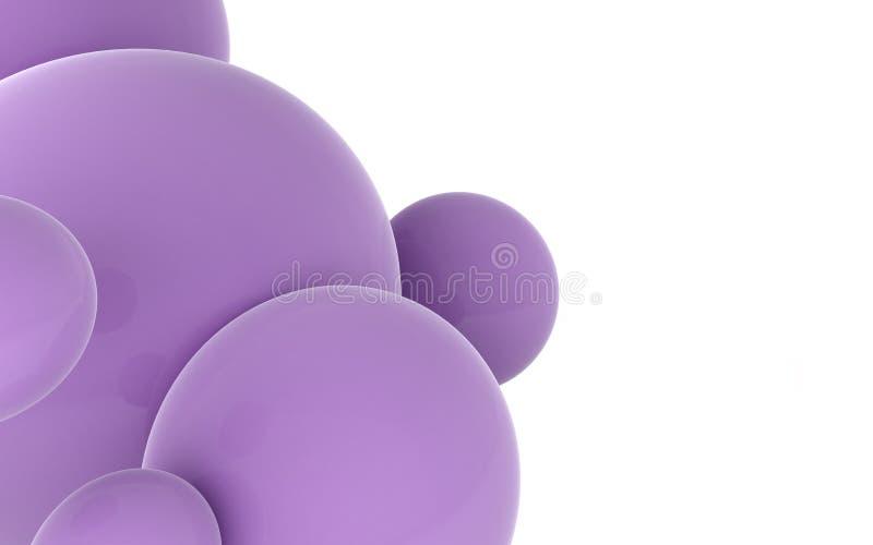 Απόδοση των στιλπνών πορφυρών μπαλονιών διανυσματική απεικόνιση