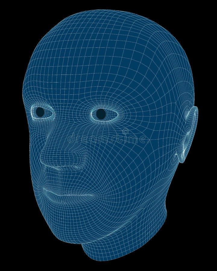 Απόδοση Wireframe ενός Man& x27 κεφάλι του s απεικόνιση αποθεμάτων