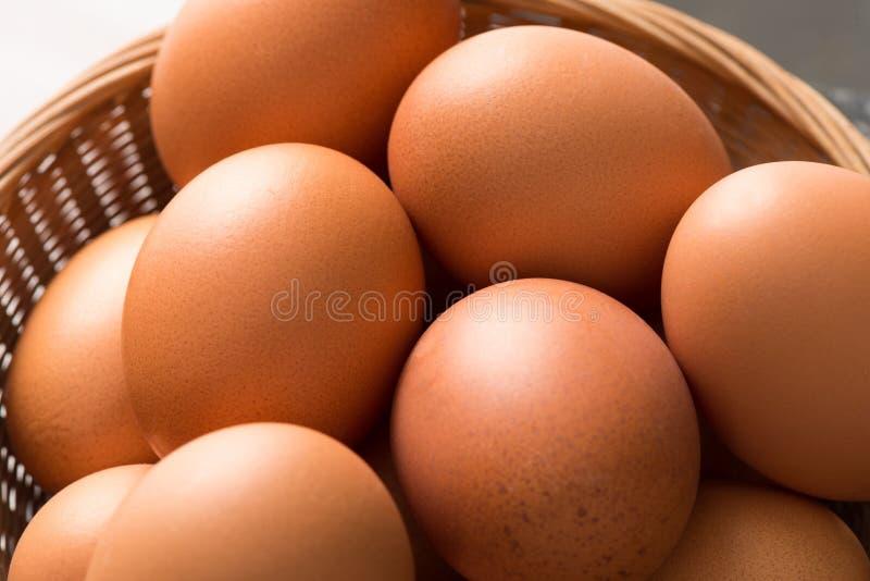 Από πάνω κλείστε επάνω των καφετιών αυγών κοτών στον ψάθινο δίσκο στοκ εικόνες με δικαίωμα ελεύθερης χρήσης
