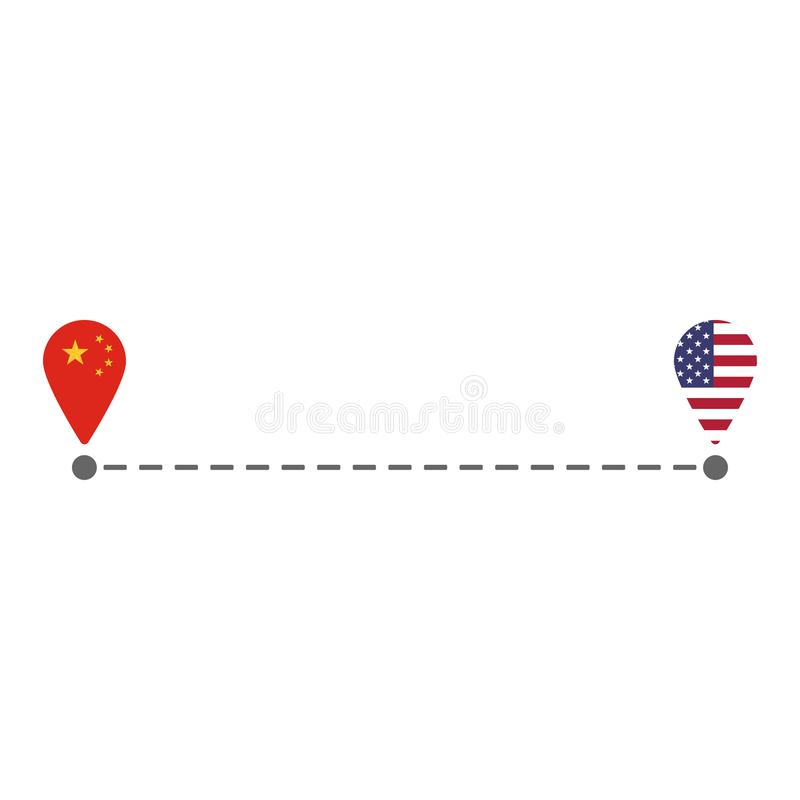 Από την Κίνα στη διαδρομή καρφιτσών αμερικανικών χαρτών απεικόνιση αποθεμάτων
