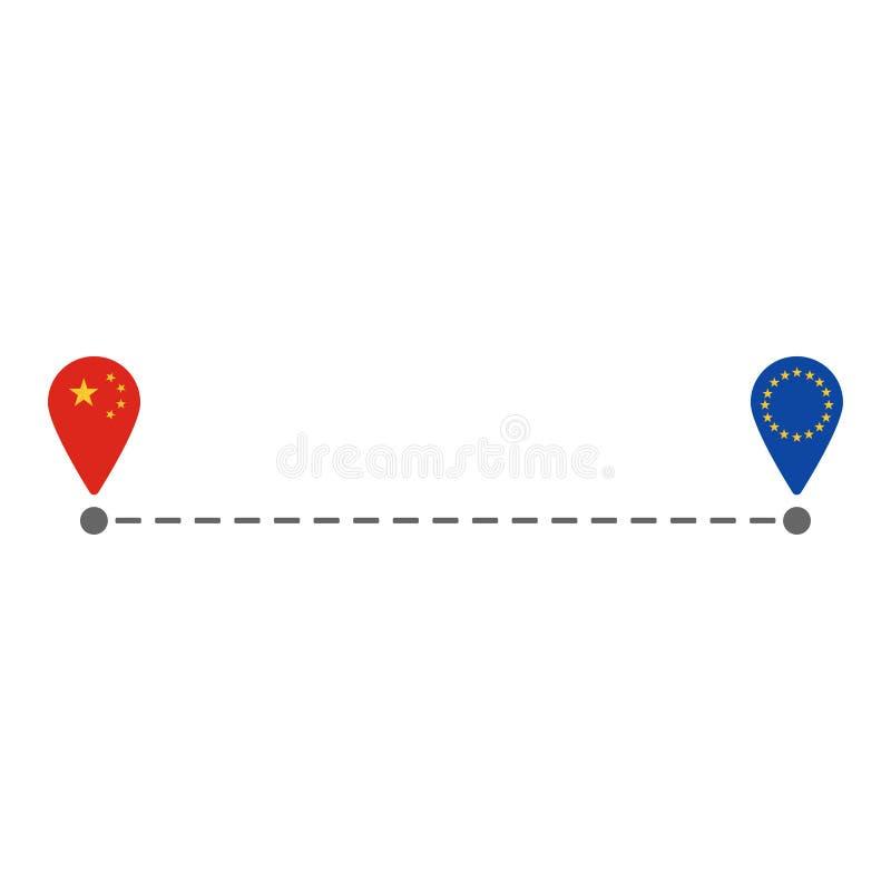 Από την Κίνα στη διαδρομή καρφιτσών χαρτών της ΕΕ διανυσματική απεικόνιση