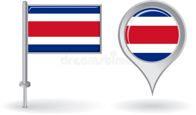 Από την Κόστα Ρίκα εικονίδιο καρφιτσών και σημαία δεικτών χαρτών διάνυσμα ελεύθερη απεικόνιση δικαιώματος
