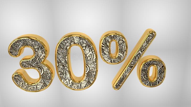 % από την πώληση προώθησης έκπτωσης φιαγμένη από ρεαλιστικό χρυσό κείμενο ηλίου, τρισδιάστατη απόδοση διανυσματική απεικόνιση