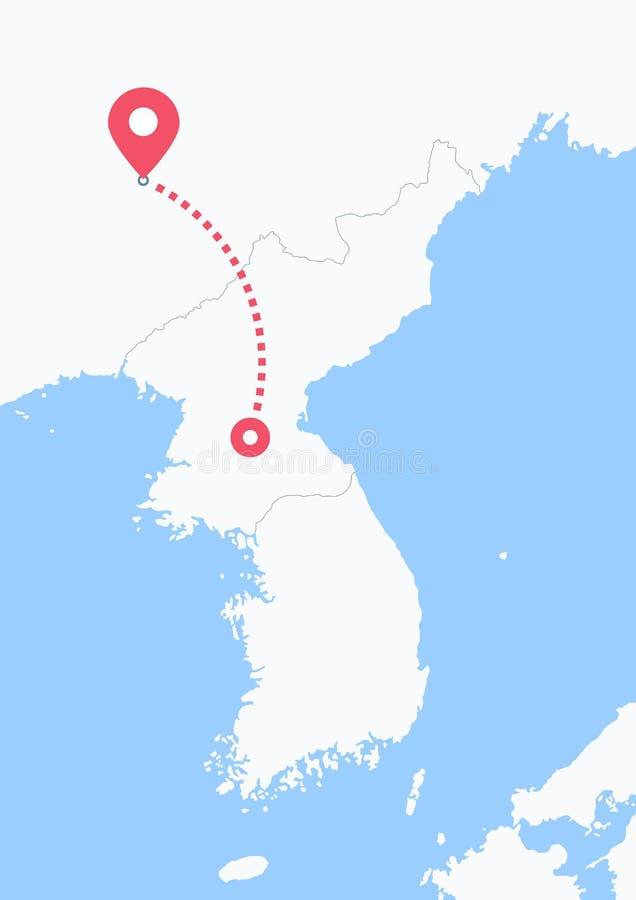 Από τη Βόρεια Κορέα στην Κίνα διανυσματική απεικόνιση