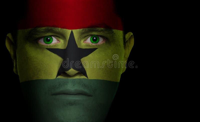 από τη Γκάνα αρσενικό σημαιών προσώπου στοκ εικόνες