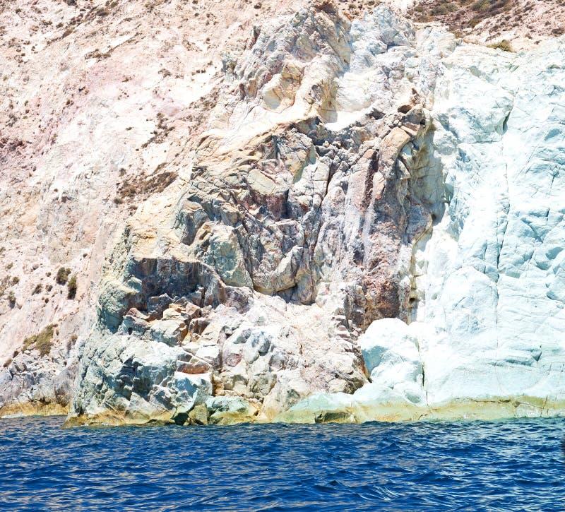 από τη θάλασσα και τον ουρανό βαρκών στο santorini Ελλάδα Μεσογείων στοκ εικόνες