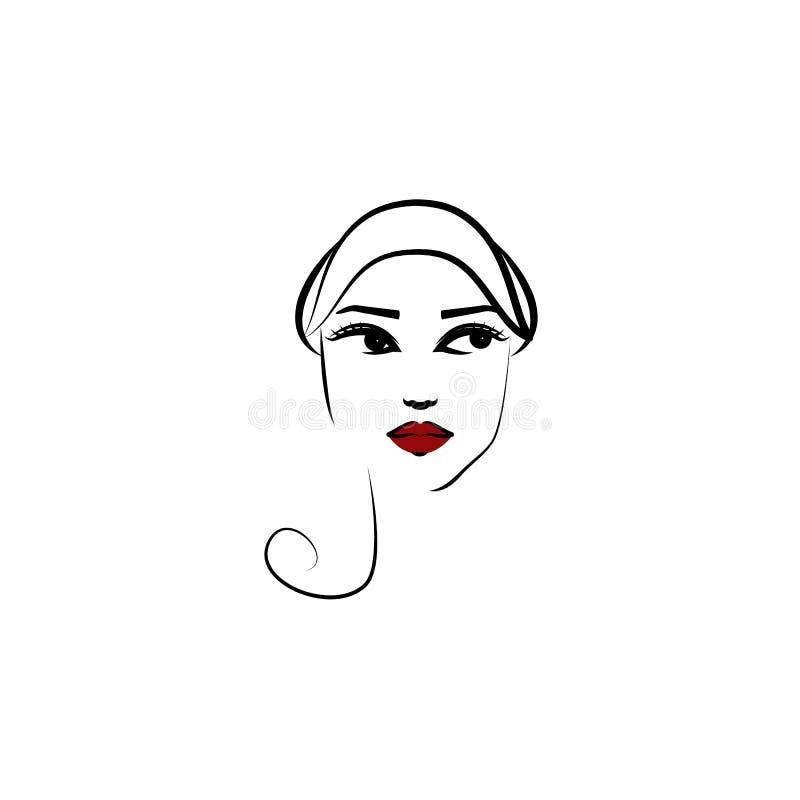 Από το καπέλο προσώπου, εικονίδιο κοριτσιών Στοιχείο του όμορφου κοριτσιού σε ένα εικονίδιο καπέλων για την κινητούς έννοια και τ απεικόνιση αποθεμάτων