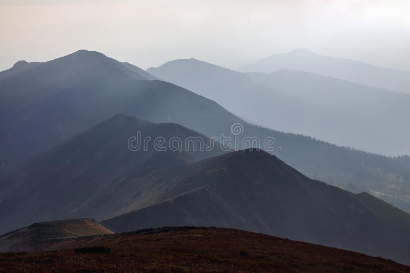 Από το λιβάδι ανοίγει μια πανοραμική άποψη των βουνών Φανταστικό τοπίο άνοιξη Τουριστικό θέρετρο Καρπάθιο, Ουκρανία, Ευρώπη στοκ εικόνα