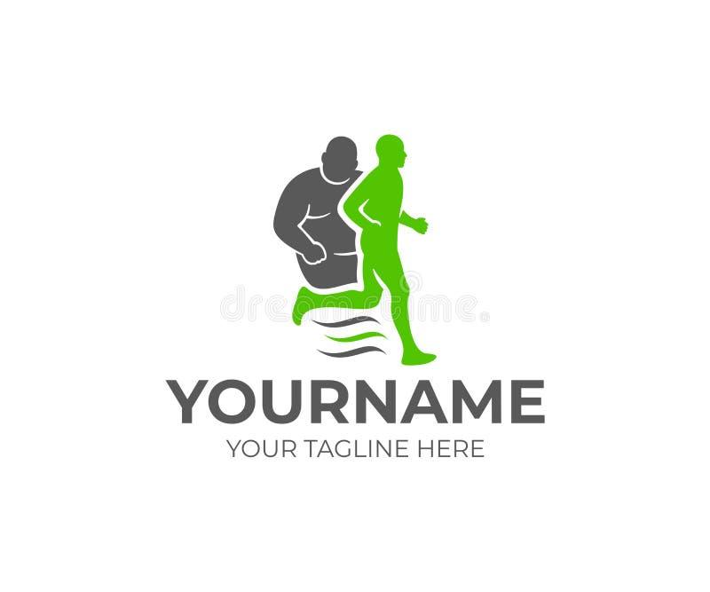 Απώλεια παχυσαρκίας και βάρους, παχύσαρκο πρόσωπο και τρέχοντας υγιές πρόσωπο, σχέδιο λογότυπων Ικανότητα, αθλητισμός, υγιής τρόπ απεικόνιση αποθεμάτων