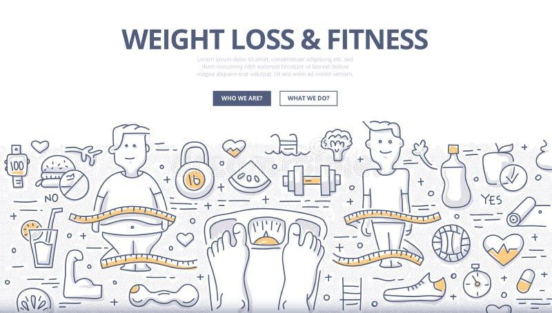 Απώλεια βάρους & έννοια Doodle ικανότητας διανυσματική απεικόνιση