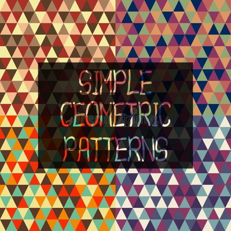 Απλά γεωμετρικά σχέδια των τριγώνων στο αναδρομικό σύνολο ύφους ελεύθερη απεικόνιση δικαιώματος