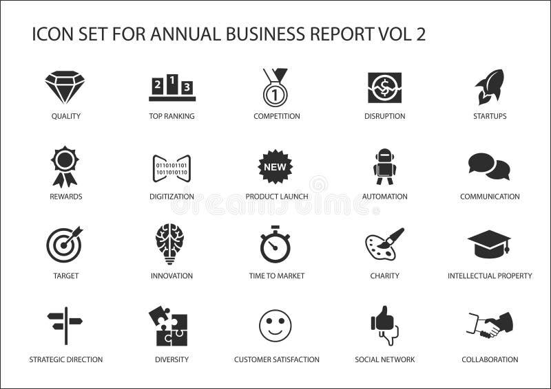 Απλά επίπεδα επιχειρησιακά εικονίδια σχεδίου για την ετήσια επιχειρησιακή έκθεση επιχείρησης διανυσματική απεικόνιση