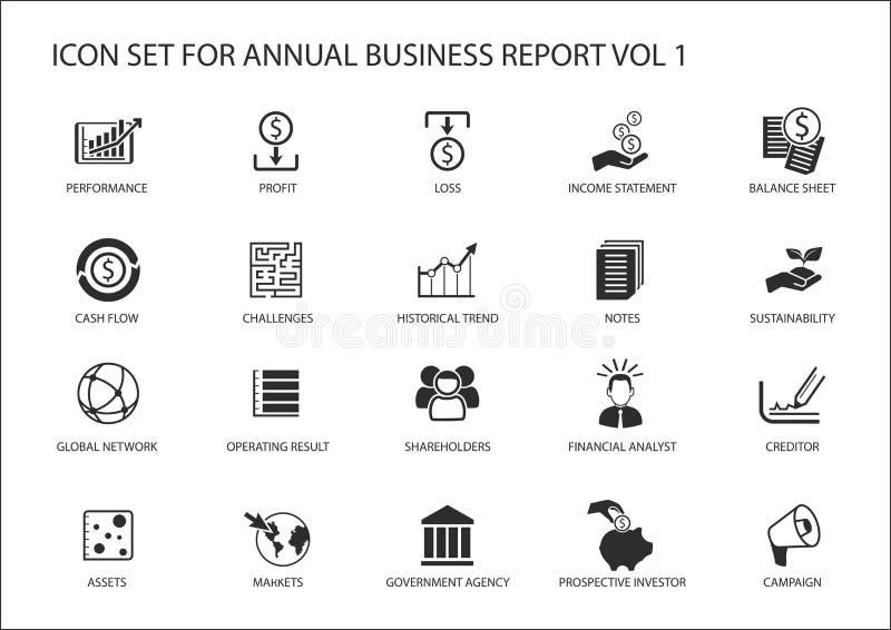 Απλά επίπεδα επιχειρησιακά εικονίδια σχεδίου για την ετήσια επιχειρησιακή έκθεση επιχείρησης ελεύθερη απεικόνιση δικαιώματος