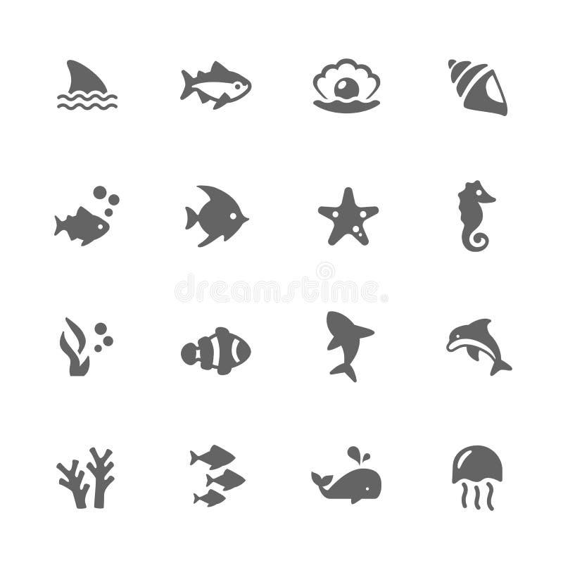 Απλά θαλάσσια εικονίδια ζωής διανυσματική απεικόνιση